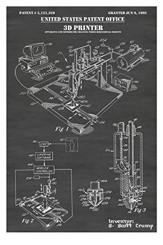 3D Printer Patent Print Art Poster: Choose From Multiple Size and Background Color Options