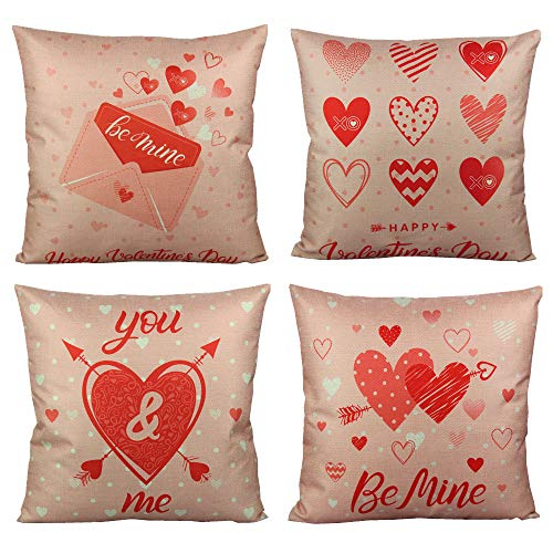 VAKADO Happy Valentines Day Throw Pillow Covers Romantic Gift Love Quotes Cushion Cases Decorative for Couch Sofa 18x18 Set of 4,Red Pink Sweet Hearts Arrows Decorations