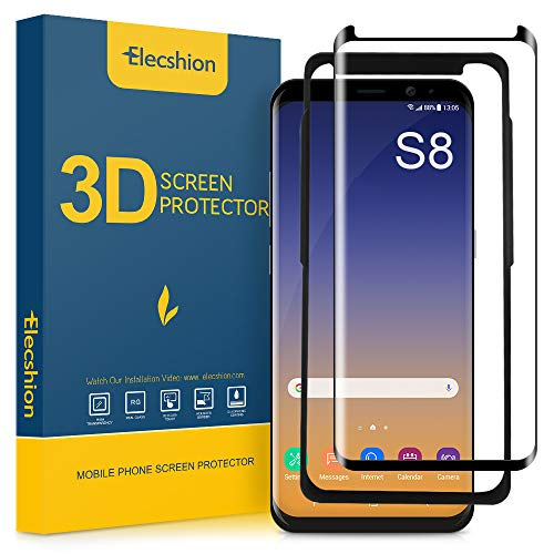 Galaxy S8 Screen Protector Tempered Glass, Elecshion 3D Curved Tempered Glass Dot Matrix Screen Protector for Samsung S8 with Easy Installation Tray (Case Friendly)