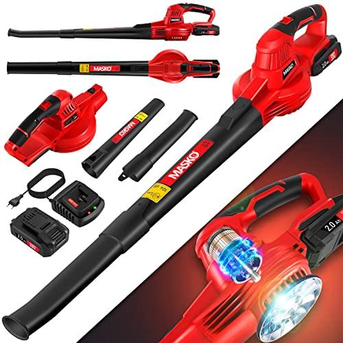 MASKO® Akku Laubbläser mit akku und ladegerät Power Charger - Luftstrom 190km/h - Lithium Ionen Akku 20 V, 2000 mAh 2,0 Ah - leichtes ergonomisches elektrisch Gebläse 2-Gang Geschwindigkeit, Rot