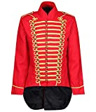 Ro Rox Men's Parade Jacket Marching Band Drummer Gothic Tailcoat - Red & Gold (XS)
