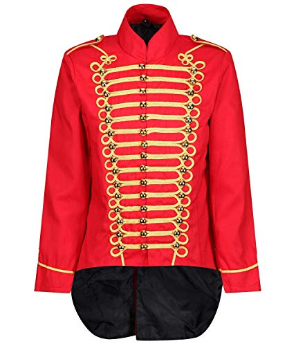 Ro Rox Men's Parade Jacket Marching Band Drummer Gothic Tailcoat - Red & Gold (XXXL)