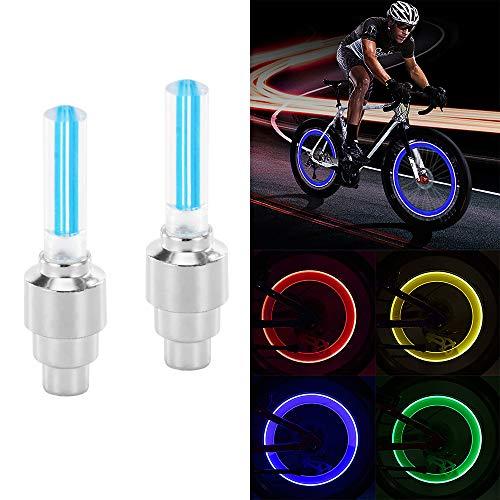 Sunsbell Sunsbell LED-Radlicht, 2PCS LED-Blitzreifen Radventilkappenlicht für Auto Fahrrad Motorrad Radlicht Reifen(Blau)