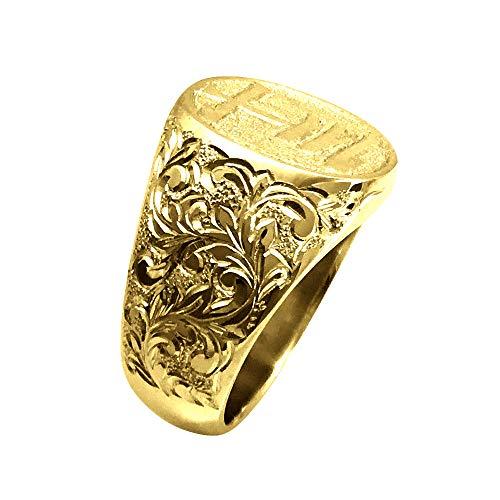 純金リング K24 縦小判印台 印鑑彫 両肩手彫彫金 10匁 24金 鍛造 たんぞう 高密度 メンズ 印面文字選べる指輪(22号)