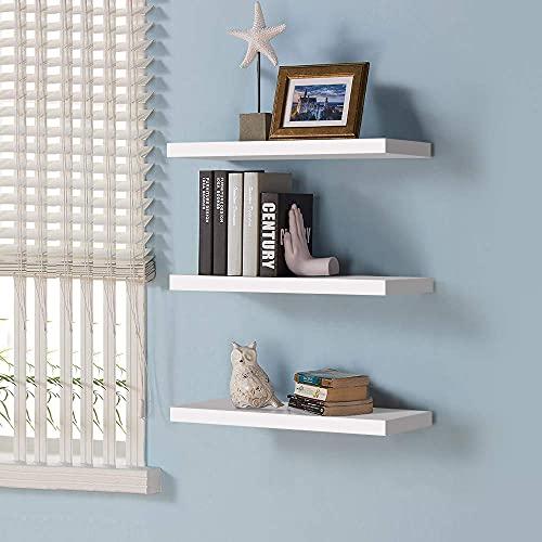 Juego de 3 estantes flotantes modernos blancos, para decoración del hogar, estante de almacenamiento para pared, ideal para exhibición de trofeos, libros, marcos de fotos