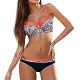 Bikinis Lunares Mujer 2021 Trajes de Baño con Relleno Push-Up,Conjunto de 2 Piezas Acolchado Bra Tops y Braguitas Talle Bajo Bikini Sets con Punto
