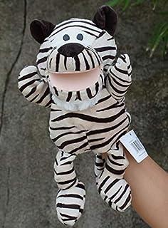دمى - دمية صغيرة وقفاز حيوانات على شكل قفاز دمية مسرحية من القطيفة بتصميم قصة ناطقة، مساعدة تعليمية ظريفة للأطفال (نمر 25 سم)