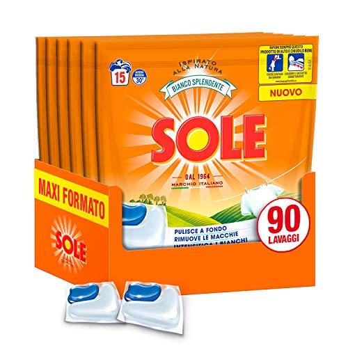 Sole Gelcaps Bianco Splendente, Detersivo Lavatrice in Capsule, Pastiglie Lavatrice, Tripla Azione, 90 Lavaggi, 6 Confezioni da 15 Lavaggi