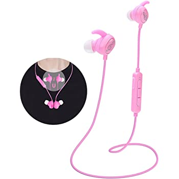 Kids Headphones, Pink Headphones Bluetooth Wireless Headphones with Magnetic Earbuds for Kids Girls Stereo Sound with Mic Noise Reduction Wireless Bluetooth Headset for School Travel (P1)