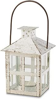 Kate Aspen 14130WT Vintage White Distressed Medium candle lantern, One Size
