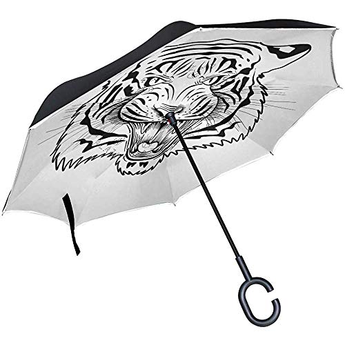 Astridh Ombrello invertito Faccia di Tigre Animale Divertente, Ombrello inverso a Doppio Strato Impermeabile per Auto Pioggia all'aperto con Impugnatura a C