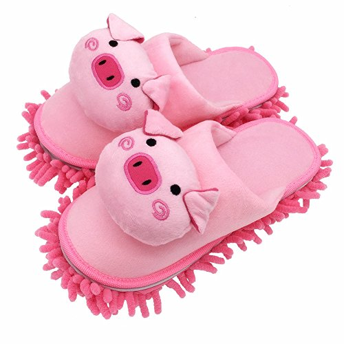 Selric Cute Piggy Mircofiber Dusting Slippers Closed Toe Slippers Pink, Chenille Cleaning Mop Slippers Floor Mop Shoes Detachable Cleaning Tool 9 7/9 Inches Size:5.5-8.5