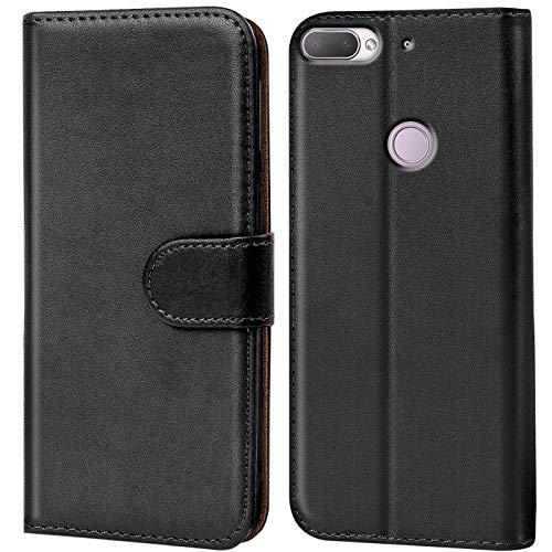 Verco Desire 12 Plus Hülle, Handyhülle für HTC Desire 12+ Tasche PU Leder Flip Hülle Brieftasche - Schwarz