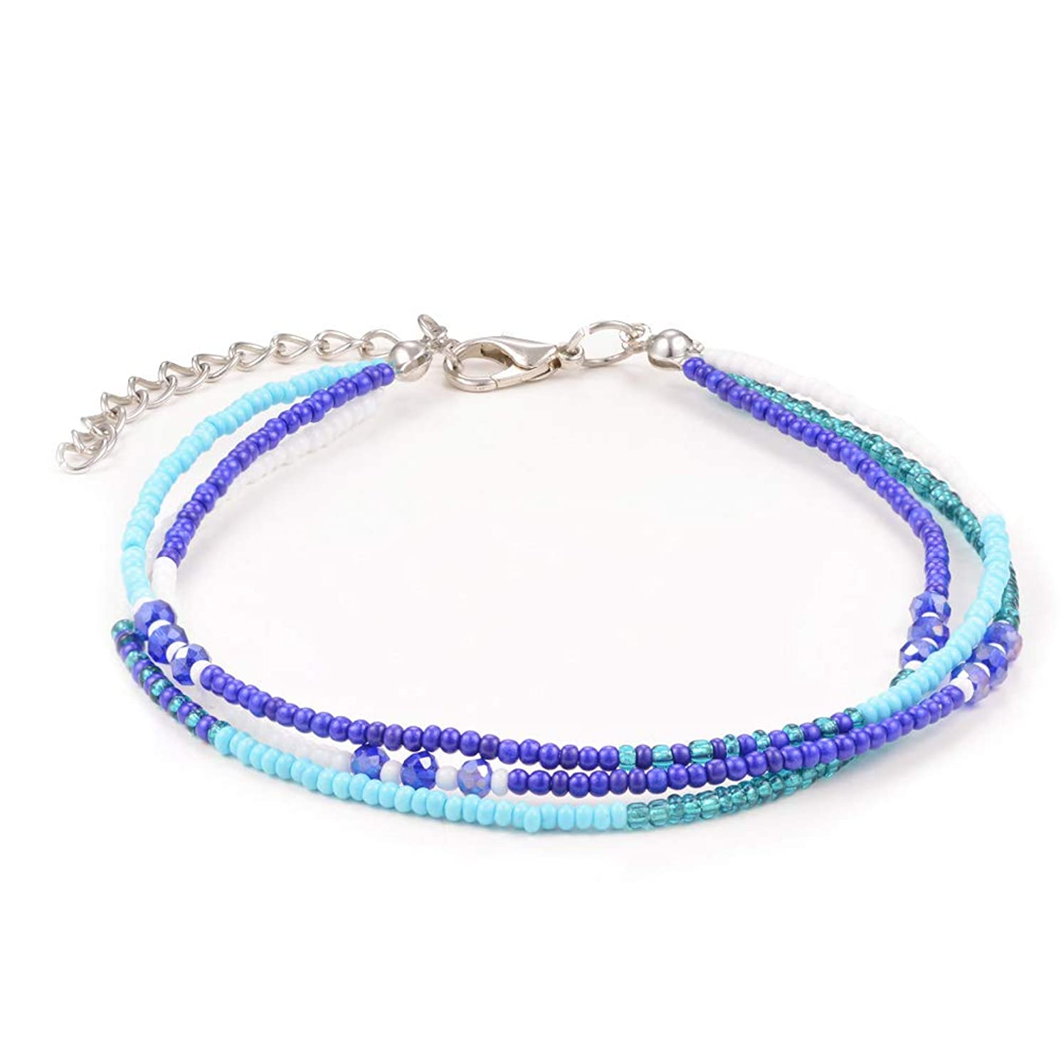 Jeka Handmade Adjustable Friendship Anklets Layered Boho Beach Waterproof Seed Beads Jewelry Gifts for Women Teen Girls