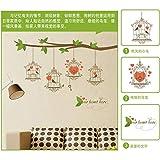 Adhesivo de pared desmontable junto a la cama pegatina decorativa ramita de colores etiqueta de la pared jaula de pájaros