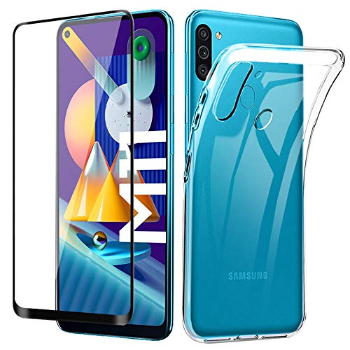 Lifeacc für Samsung Galaxy M11 Hülle und 3D Panzerglas Vollständige Abdeckung, Transparent Durchsichtige Dünn Silikon Handyhülle für Samsung M11 / A11