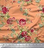Soimoi Orange Samt Stoff Blätter, rote Beeren und Rosen