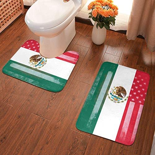 Lindsay Gosse Badematten-Set 2-teiliges Teppich-Set USA Mexiko Flag Mix U-förmiger konturierter Toilette und...