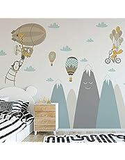 Muurtattoo kinderen – decoratie kinderkamer – muursticker voor kinderen – wandtattoo Scandinavisch – enorme Scandinavische bergen Version L Animaux Volants