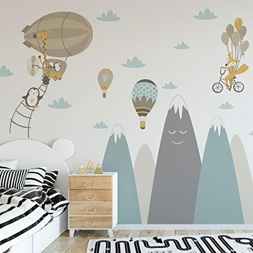 Wandaufkleber, selbstklebend, für Kinder, Riesen-Dekoration, skandinavische Berge für Kinderzimmer, Baby/fliegende Tiere, 50 x 90 cm, 1 Stück