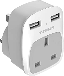 USB Charger Adapter Plug 2-Port, TESSAN Wall Power Multi Socket with USB for Home Office Hotel, 13A Fuse Inside(Gray)