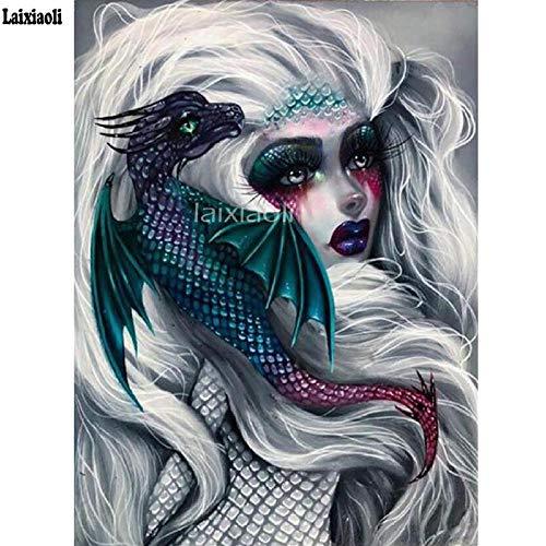 MSSD/EU 5D Diamond Painting Full Foto's Groot meisje en draak steek kruis rond borduurwerk cartoon 3D mozaïek sticker wooncultuur 40 x 50 cm (16 x 20 inch)
