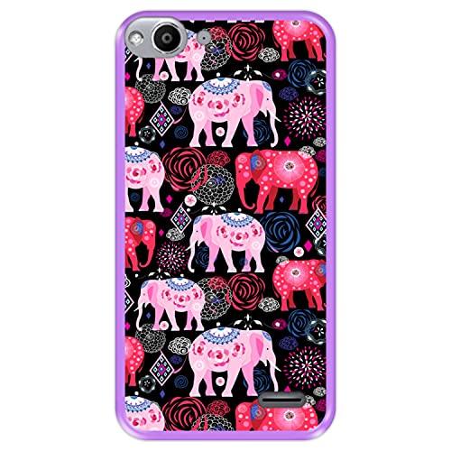 Hapdey silikon Hülle für [ Vodafone Smart Ultra 6 ] Design [ Helles Muster von rosa & roten schönen Elefanten ] Lila Flexibles TPU
