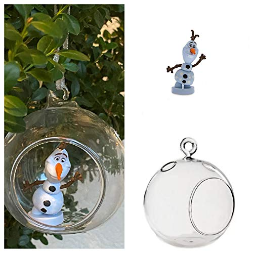 "ASDF Disney Olaf The Snowman Custom PVC Figure in Globe 4"" Holiday Christmas Tree Ornament 2pcs Detachable"