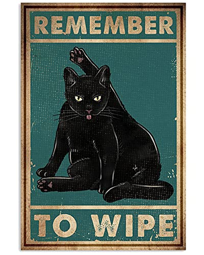 Vintage Tin Sign Coffee Cats Print Remember to Wipe Black Cat Metal Poster Love Cats Metal Poster Cat Metal Poster Art Funny Cat Metal Poster Vintage Black Cat Metal Poster