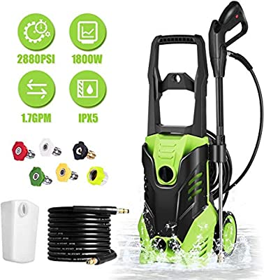 Homdox 2880 PSI Pressure Washer, Electric 1800W High Pressure Power Washer Machine with Power Hose Gun Turbo Wand 5 Interchangeable Nozzles