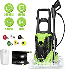 ✓ Electric Pressure Washer ---- Compact, upright design with axle mounted wheels allows easy roll-away mobility. Pistol style grip with trigger spray wand dispenses for efficient High pressure washing; we offer 2-year Warranty ✓ Interchangeable Nozzl...