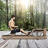 Mr. Rudolf Water Rowing Machine with Bluetooth Monitor, Oak Wood Water Resistance Rower Training...