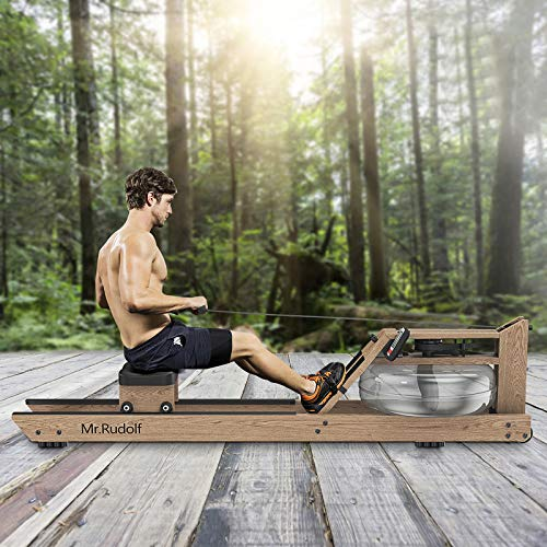 Mr. Rudolf Water Rowing Machine with Bluetooth Monitor, Oak Wood Water Resistance Rower Training Exercise Equipment for Home Use Indoor Gyms Sports Fitnes