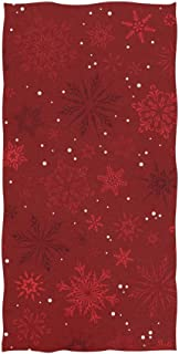 ALAZA Red Hand Towel Christmas Snowflakes Absorbent Soft Bath Towels Microfiber Face Gym Sports Towel Multipurpose for Kitchen Bathroom Hotel Home Decor 15x30 Inch
