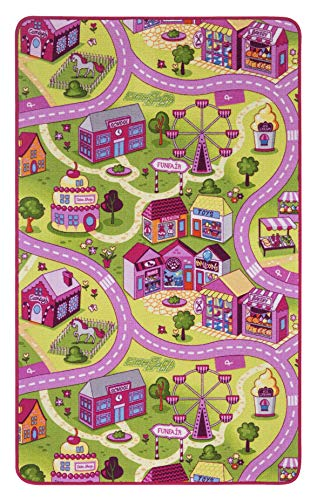 Tappeto strada/playmat sugartown, Rosa, Oeko-Sud, morbido, Poliammide, Pink-Rosa