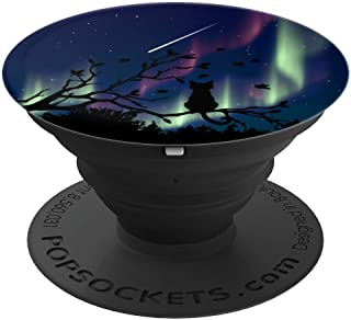 Night Cat in a Tree aurora Sky Christmas Gifts kids adults - PopSockets Grip and Stand for Phones and Tablets