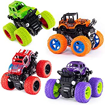 4-Pack Friction Powered Push and Go Monster Truck Toys