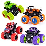 4 Pack Monster Truck Toys for Boys and Girls, Inertia Car Educational Toy Cars, Friction Powered Push and Go Toy Cars, Christmas Gift Birthday Party Supplies for Toddlers Kids (4 Color)