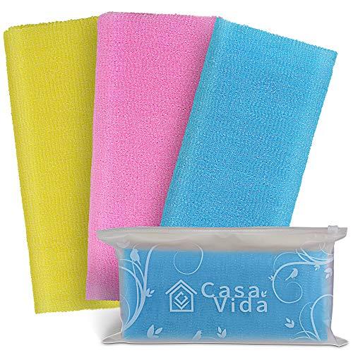 Exfoliating Washcloth Japanese Beauty Washcloth Nylon Bath Sponge Korean Loofah Towel Puff Large Wash Cloth Body Scrub Premium Bath Washcloths Exfoliating Shower Towel Back Scrubber 3 Pack by CasaVida