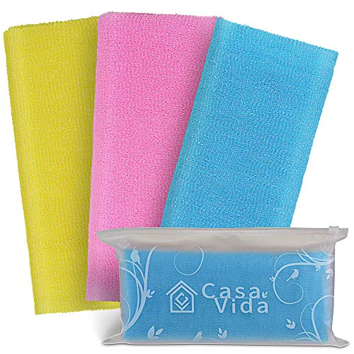 Premium Exfoliating Washcloth Towel Japanese Beauty Washcloth Nylon Bath Sponge Korean Loofah Puff Large Wash Cloth Body Scrub Bath Washcloths Exfoliating Shower Towel Back Scrubber 3 Pack by CasaVida