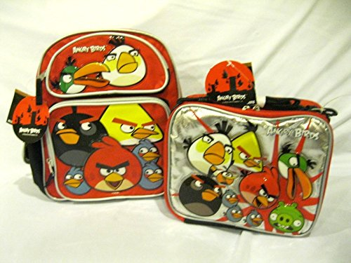 """Granny's Best Deals (C) Rovio 12"""" Angry Birds Toddler Backpack and matching Angry Birds Lunch Bag Lunch Box-Brand New!"""