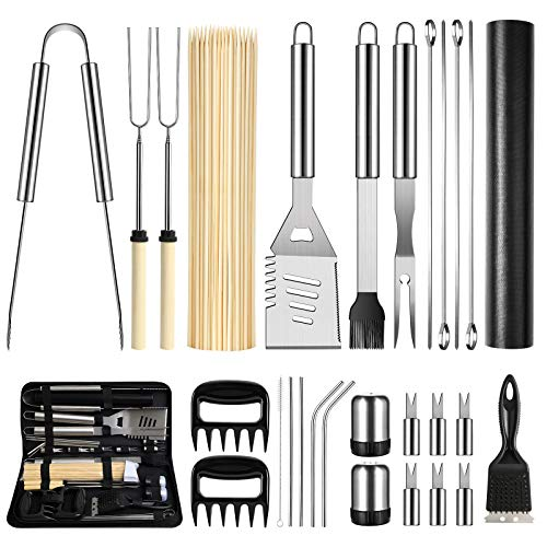 OlarHike BBQ Grill Accessories Set for Men Women, 29PCS Grilling Utensils Tools Set, Stainless Steel BBQ Gift Set with Spatula, Tongs, Grill Mat, Skewers, Grill Brush for Barbecue, Camping, Kitchen