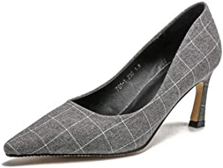 KTYXDE High Heel Ladies High Quality Material Fashion Casual Temperament Lattice Shallow Shoes Single Shoes High Heels Spring and Summer 7CM Black Gray Women's Shoes