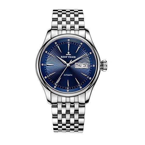 REEF TIGER Herren Uhr analog Automatik mit Edelstahl Armband RGA8232-YLY
