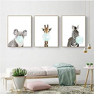 LYFCV Mignon Bleu Bubble Gum Animal Zèbre Girafe Koala Kangourou Toile Art Peinture Abstraite Impression Affiche Photo Mur...