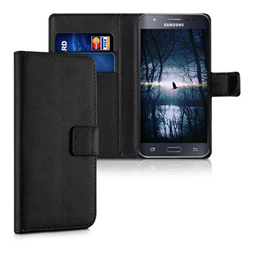 kwmobile Hülle kompatibel mit Samsung Galaxy J5 (2015) - Kunstleder Wallet Case mit Kartenfächern Stand in Schwarz
