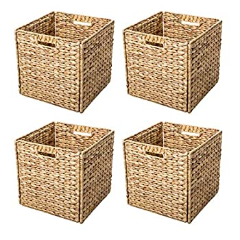 wicker cube storage bins