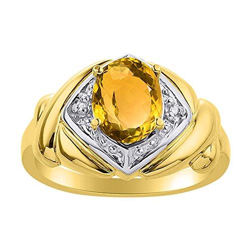 Juego de anillos de citrino y diamante en plata chapada en oro amarillo – XO Hugs & Kisses – Anillo de piedra de nacimiento de color