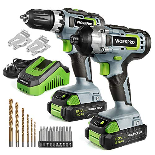 WORKPRO 20V Li-ion Cordless Compact Drill Driver and Impact Driver, Including 2 x 2.0Ah Batteries, 1 Hour Fast Charger, 16pcs Accessories