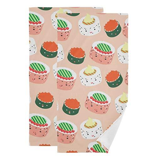 Toallas de mano decorativas para el cuarto de baño – Juego de 2 toallas de algodón japonés para invitados de sushi japonés para deportes, hogar, baño, gimnasio